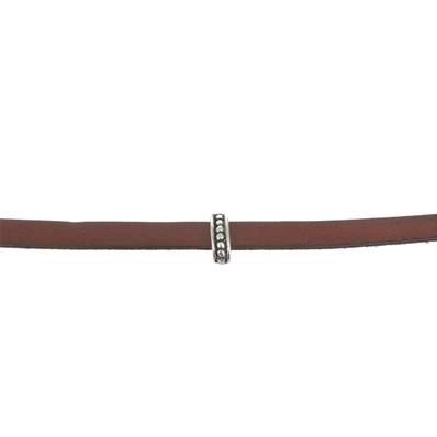 Coulissant POINTS ETHNIQUES - Lanière de 10 mm - ARGENT VIEILLI