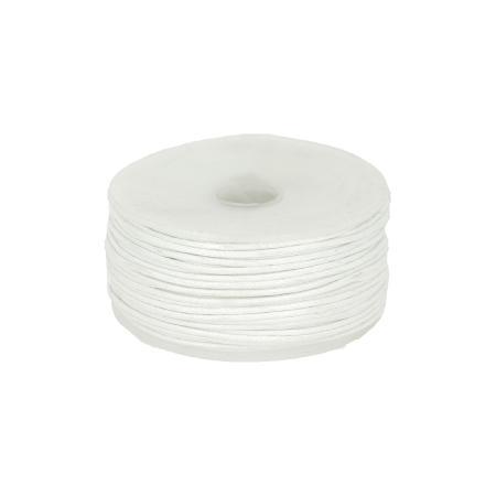 Bobine 25 m lacet coton tressé ciré 1 mm - BLANC