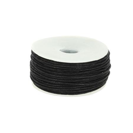 Bobine 25 m lacet coton tressé ciré 1 mm - NOIR
