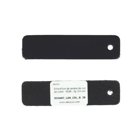 Échantillon de lanière de cuir de collet - NOIR - Ép 3,4 mm