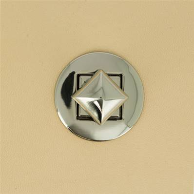 Fermoir pour sac ROND bouton PYRAMIDE - NICKELE - 33 mm