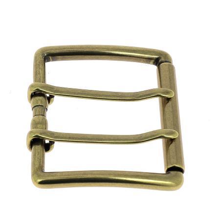 Boucle de ceinture double ardillon NAO - LAITON VIEILLI - 50 mm