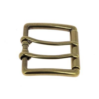 Boucle de ceinture double ardillon NAO - LAITON VIEILLI - 40 mm