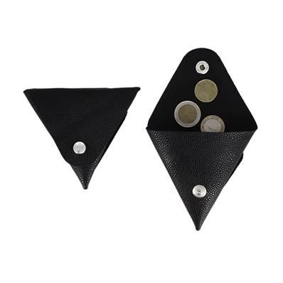 Grand porte-monnaie triangle en cuir véritable - Grain caviar - NOIR