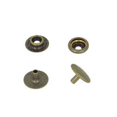 Lot de 10 boutons pression FORT en acier - LAITON VIEILLI - TANDY LEATHER - LINE 20 : 12,5 mm