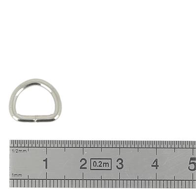 Anneau demi rond soudé - acier NICKELE - 10x8x2 mm