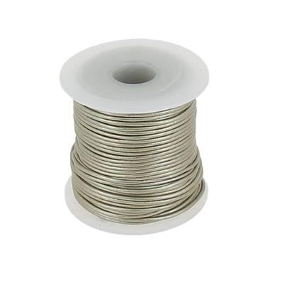 Lacet en cuir rond - diam 1 mm - ARGENT