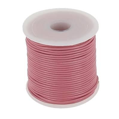 Lacet en cuir rond - diam 1 mm - ROSE