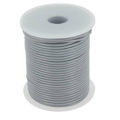 Lacet en cuir rond - diam 2 mm - GRIS CLAIR