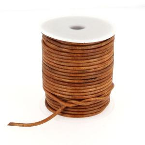 Lacet en cuir rond teinté - diam 3 mm - TAN