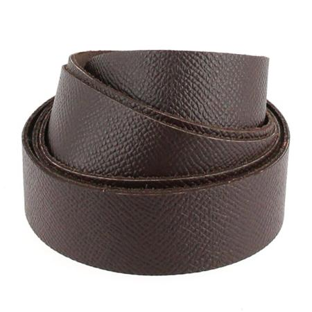 Sangle en cuir CHOCOLAT - Grain Dauphin - Largeur 19 mm