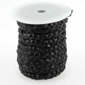 Lacet en cuir plat tressé - largeur 6 mm - NOIR
