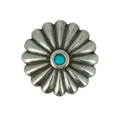 Concho FLEUR ronde avec turquoise - ARGENT VIEILLI - 31 mm