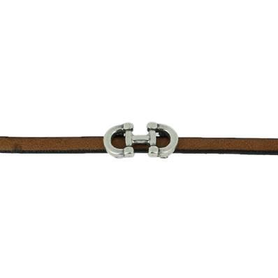 Coulissant DEUX ETRIERS - Lanière de 5 mm - ARGENT VIEILLI