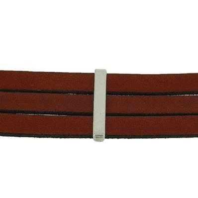 Coulissant TROIS BANDES - Lanière de 10 mm - ARGENT VIEILLI