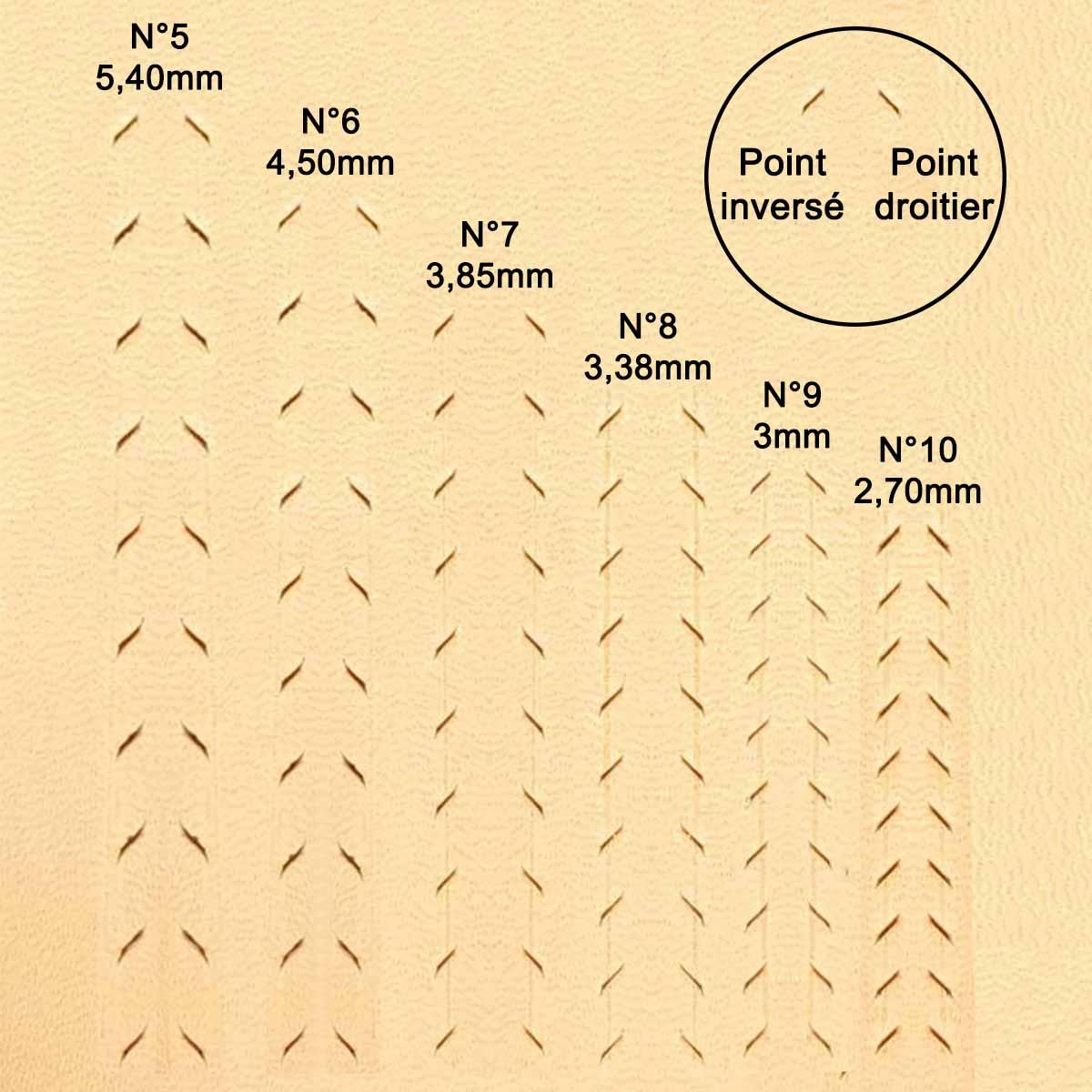 Jeu de 3 griffes à frapper de précision Deco Cuir n° 7 - Entraxe 3,85 mm