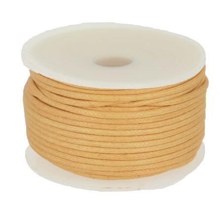 Bobine 25 m lacet coton tressé ciré 2 mm - BEIGE