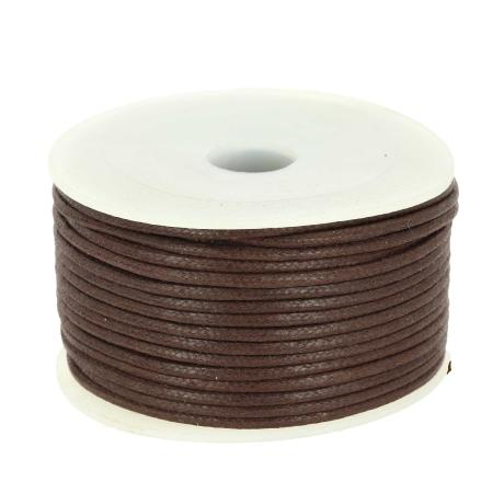 Bobine 25 m lacet coton tressé ciré 2 mm - MARRON CHOCOLAT