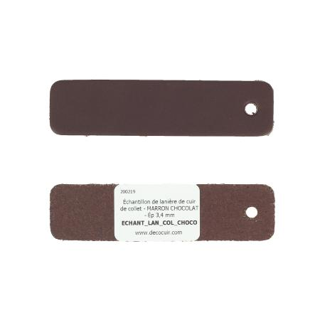 Échantillon de lanière de cuir de collet - MARRON CHOCOLAT - Ép 3,4 mm