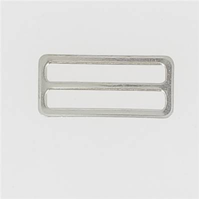 Passant double rectangulaire et plat - Nickelé - 35 mm