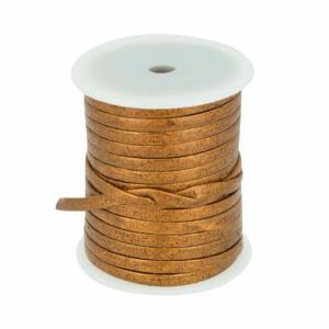 Lacet en cuir plat - largeur 5 mm - BRONZE