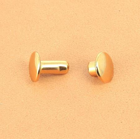 Lot de 20 rivets moyen DOUBLE CALOTTE en laiton (T3) finition Doré luxe