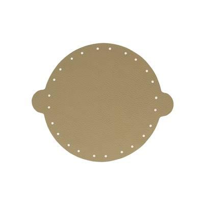 Cuir déja coupé pour faire une bourse en cuir KAKI - Diamètre 20 cm