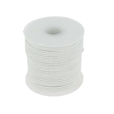Lacet en cuir rond - diam 1 mm - BLANC