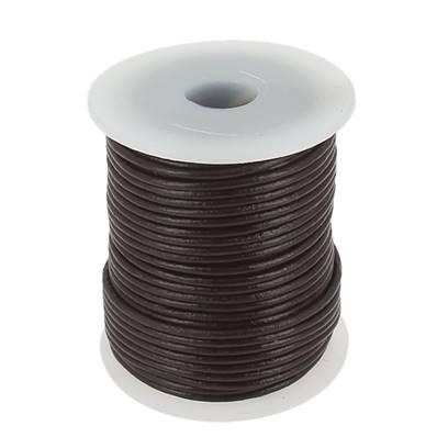 Lacet en cuir rond - diam 2 mm - CHOCOLAT