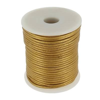 Lacet en cuir rond - diam 2 mm - OR
