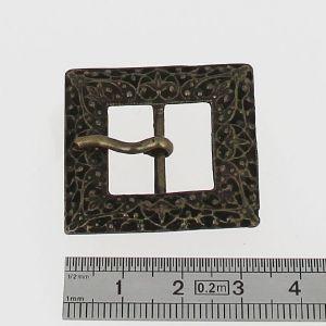 Boucle de ceinture CARREE à ardillon motifs en relief- Laiton vieilli - 18 mm