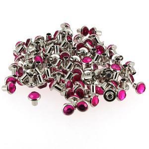 Lot de 100 rivets strass moyen - ROSE FUCHSIA