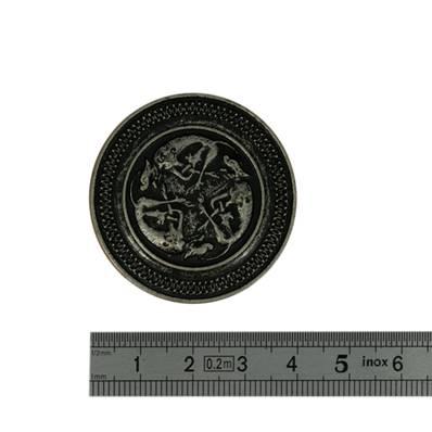 Concho CHIENS - 40 mm - Argent vieilli