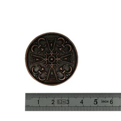 Concho CROIX MEROVINGIENNE - 35 mm - Vieux Cuivre