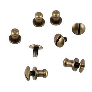Lot de 5 boutons de col à vis T3 - Laiton vieilli avec vis 3x5mm