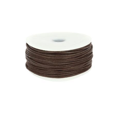 Bobine 25 m lacet coton tressé ciré 1 mm - MARRON CHOCOLAT