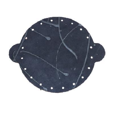 Cuir déja coupé pour faire une bourse en croûte de cuir BLEU NUIT - Diamètre 25 cm
