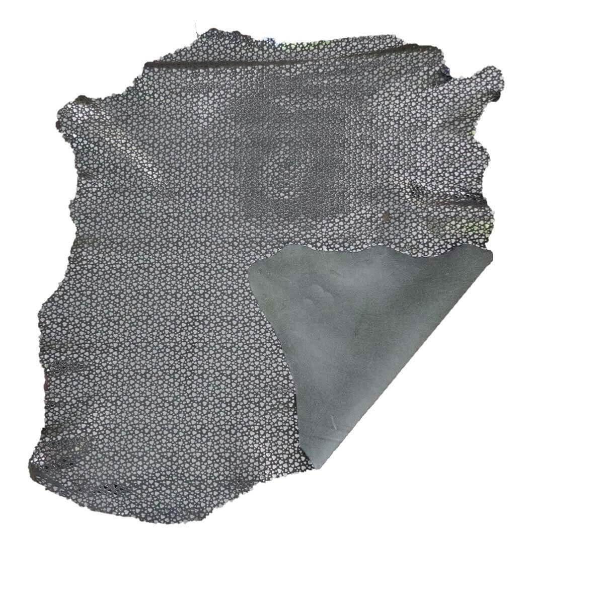 Peau de cuir de chèvre velours - GRIS C67 - Petits coeurs argentés