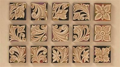 Lot de 3 calques réutilisables pour le transfert de motifs sur le cuir - CARRES FLORAUX