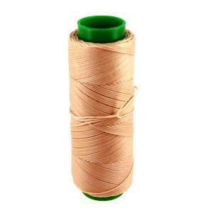 Bobine de fil polyester tressé et ciré - 100 mètres - diam 1 mm - BEIGE ROSE