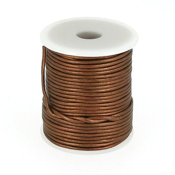 Lacet en cuir rond - diam 2 mm - BRONZE
