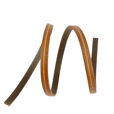 50 cm de lacet en cuir plat 6 mm PREMIUM - Cognac, rainure longitudinale