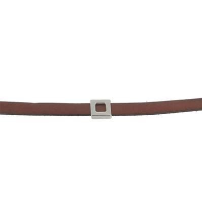 Coulissant CLASSIQUE CARRE PLAT - Lanière de 10 mm - ARGENT VIEILLI