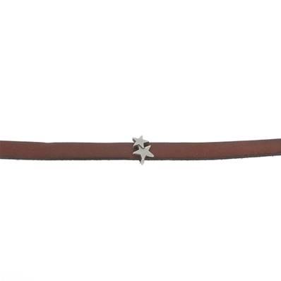 Coulissant DEUX ETOILES - Lanière de 10 mm - ARGENT VIEILLI