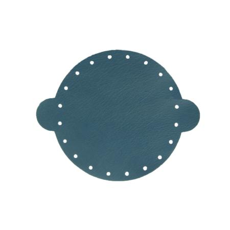 Cuir déja coupé pour faire une bourse en cuir BLEU FONCÉ - Diamètre 14,5 cm