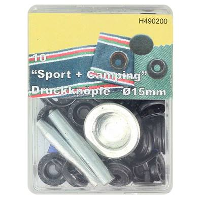 Kit 10 boutons pression FORT et outils de pose - 15 mm - NOIR