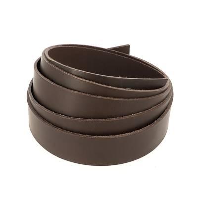 Bande de cuir de collet - MARRON CHOCOLAT - Larg 25 mm - Long 110 cm - Ép 1,9 mm