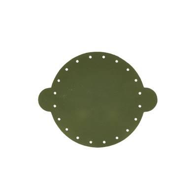 Cuir déja coupé pour faire une bourse en cuir VERT FONCÉ - Diamètre 14,5 cm