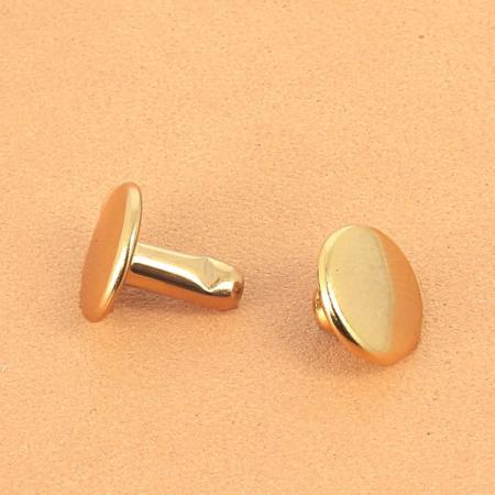 Lot de 20 rivets moyen DOUBLE CALOTTE en laiton (T4) finition Doré luxe