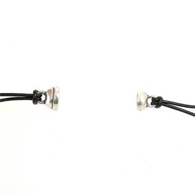 Fermoir bijou - Boule aimantée - Argent vieilli - Lacet rond 2 mm